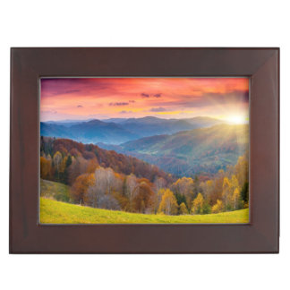 Mountain autumn landscape with forest memory box