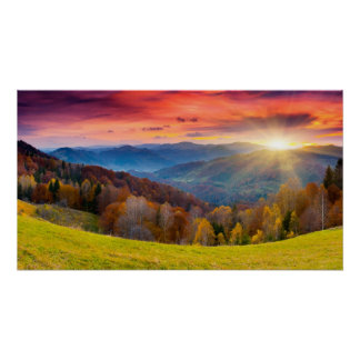 Mountain autumn landscape with forest poster