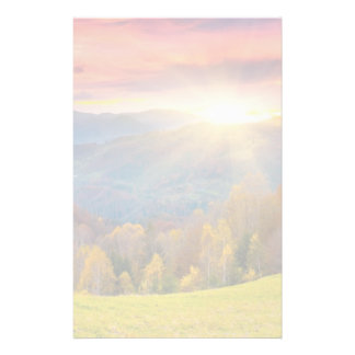Mountain autumn landscape with forest stationery
