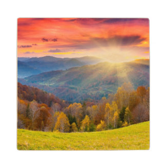 Mountain autumn landscape with forest wood coaster