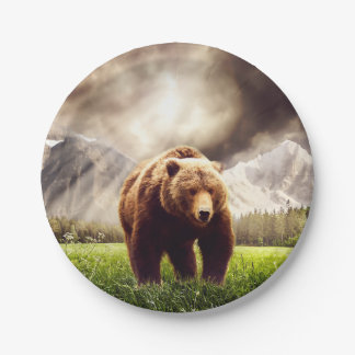 Mountain Bear 7 Inch Paper Plate