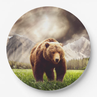 Mountain Bear 9 Inch Paper Plate