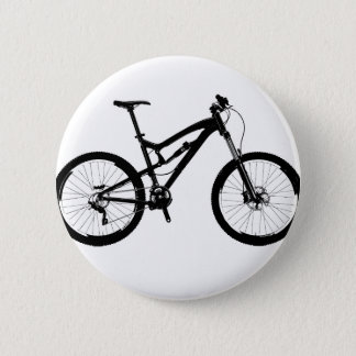 Mountain Bike - Black on White 6 Cm Round Badge