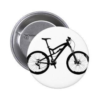 Mountain Bike - Black on White 6 Cm Round Badge