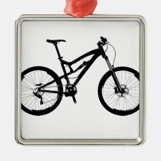 Mountain Bike - Black on White Christmas Ornament