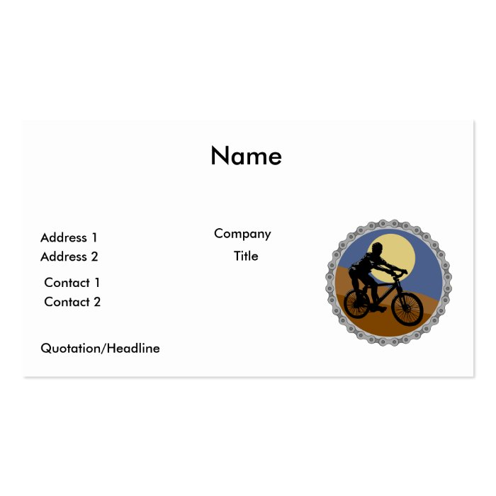 mountain bike chain sprocket design pack of standard business cards
