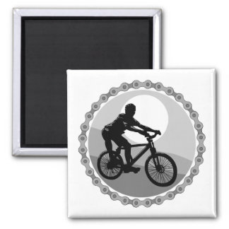 mountain bike chain sprocket grayscale square magnet