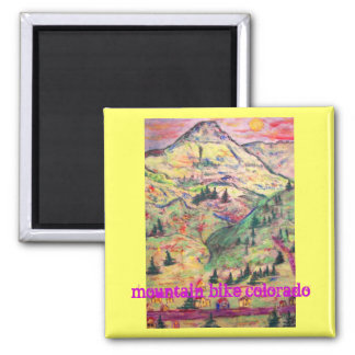 mountain bike colorado square magnet