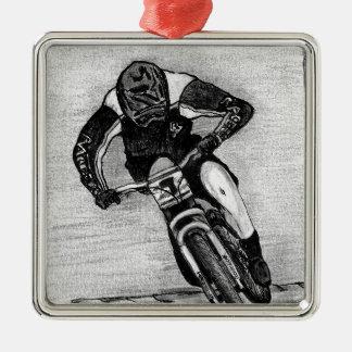 Mountain Bike Ride Silver-Colored Square Decoration