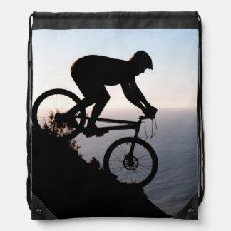 Mountain Bike Rider. Lions Head, Cape Town Drawstring Bag
