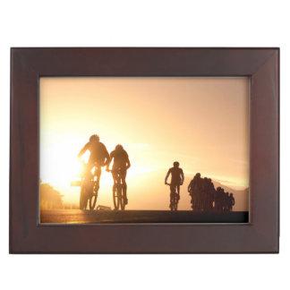 Mountain Bike Riders Make Their Way Over The Top Keepsake Box