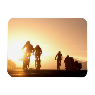 Mountain Bike Riders Make Their Way Over The Top Rectangular Photo Magnet