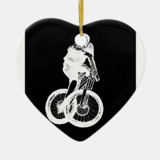 Mountain Biker MTB BMX CYCLIST Ceramic Heart Decoration