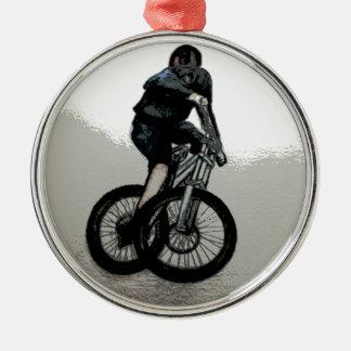 Mountain Biker MTB BMX CYCLIST Silver-Colored Round Decoration