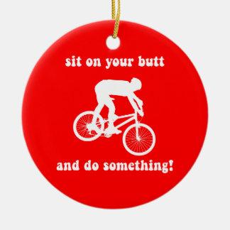 mountain biking christmas ornament