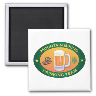 Mountain Biking Drinking Team Square Magnet