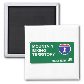 Mountain Biking Next Exit Square Magnet