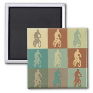Mountain Biking Pop Art Square Magnet
