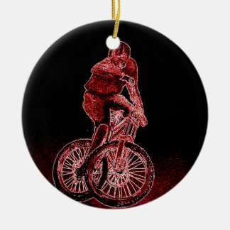 Mountain Biking Round Ceramic Decoration