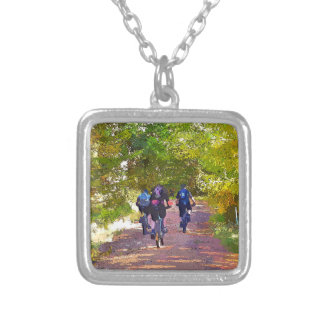 MOUNTAIN BIKING SILVER PLATED NECKLACE
