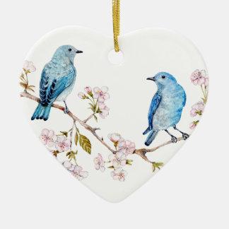 Mountain Bluebirds on Sakura Branch Ceramic Heart Decoration