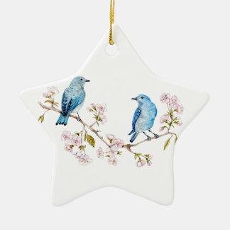 Mountain Bluebirds on Sakura Branch Christmas Ornament
