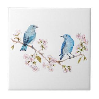 Mountain Bluebirds on Sakura Branch Tile