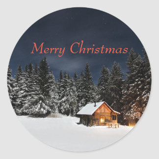 Mountain Cabin Christmas Stickers