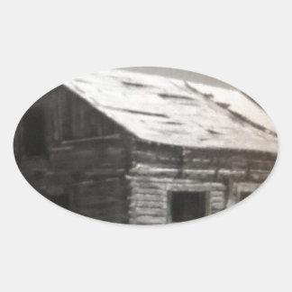Mountain Cabin Oval Sticker