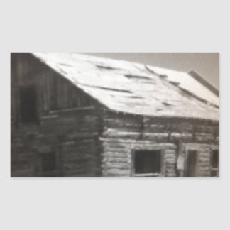 Mountain Cabin Rectangular Sticker