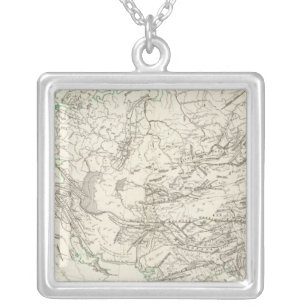 Mountain chains in Asia and Europe Silver Plated Necklace