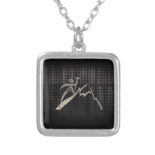 Mountain Climbing; Cool Black Silver Plated Necklace