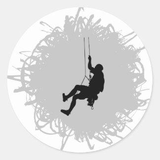 Mountain Climbing Scribble Style Round Sticker