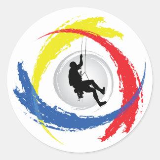 Mountain Climbing Tricolor Emblem Round Sticker
