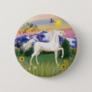 Mountain Country - White Arabian Horse 6 Cm Round Badge