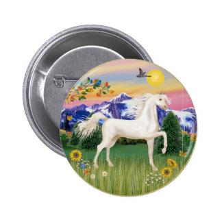 Mountain Country - White Arabian Horse 6 Cm Round Badge