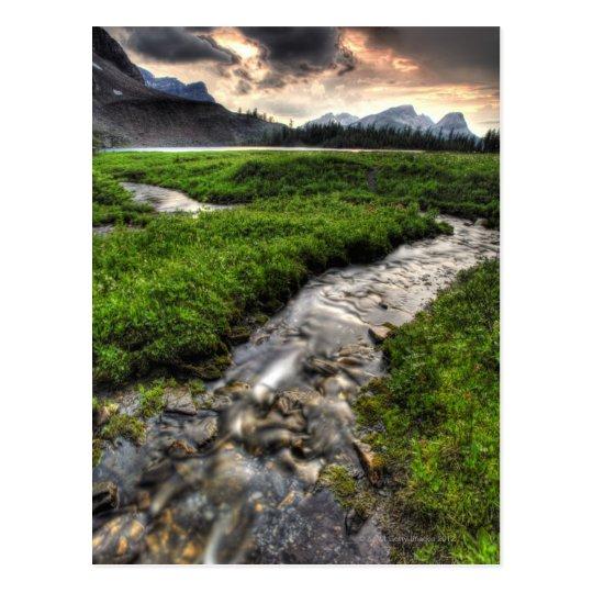 Mountain creek descends through meadow towards postcard