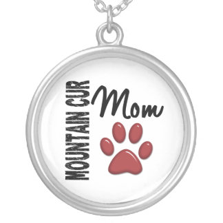 Mountain Cur Mom 2 Silver Plated Necklace