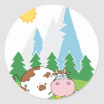 Mountain Dairy Cow With Flower In Mouth Round Stickers