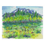 Mountain Flower Meadow Trees Watercolor Painting Poster