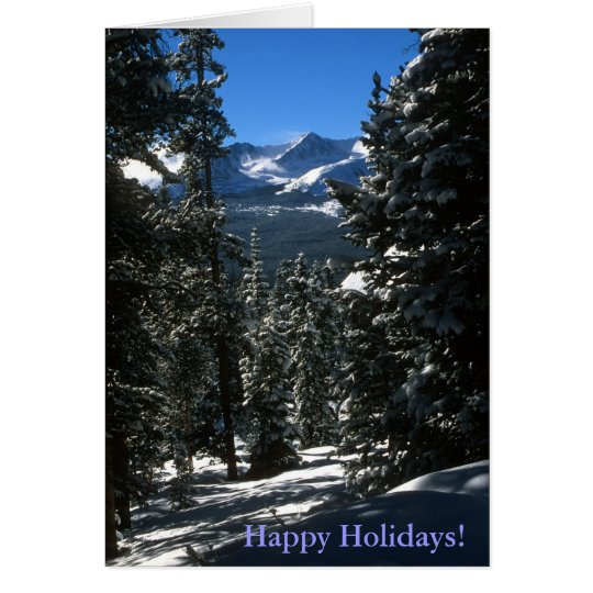 Mountain Forest Winter Scene Holiday Card