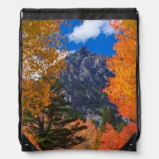 Mountain framed in fall foliage, CA Drawstring Bag