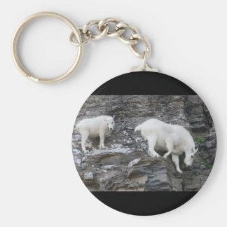 mountain goat basic round button key ring