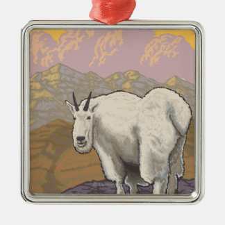 Mountain Goat - Chugach National Forest, Silver-Colored Square Decoration