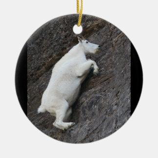 mountain goat climbing cliff christmas ornament