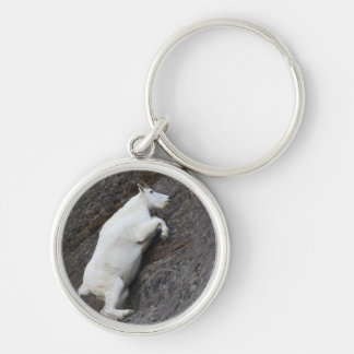 mountain goat Silver-Colored round key ring