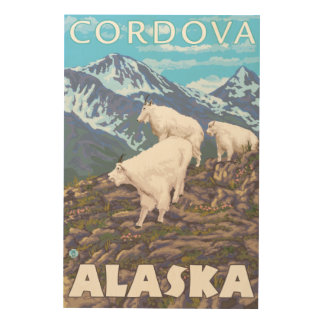 Mountain Goats Scene - Cordova, Alaska Wood Wall Decor