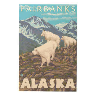 Mountain Goats Scene - Fairbanks, Alaska Wood Print