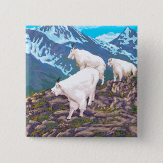 Mountain Goats Scene - Montana 15 Cm Square Badge