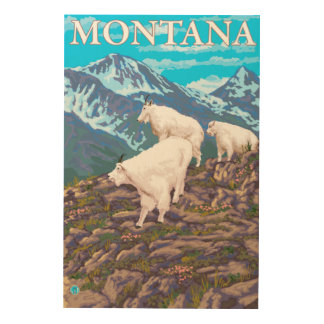 Mountain Goats Scene - Montana Wood Wall Art